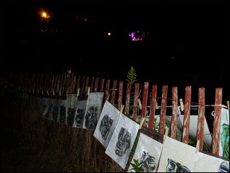 Portraits hung on fence in the dark.